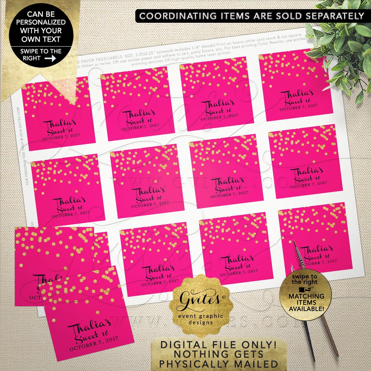 Thank you tags labels favor gifts for any event hot pink gold personalized stickers printable jpg pdf 2x2