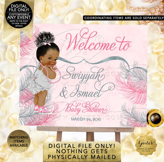 Pink Silver Welcome Baby Shower/ princess african american baby girl decorations/ table signs Dark Bun Curly | Design: TIACE-105