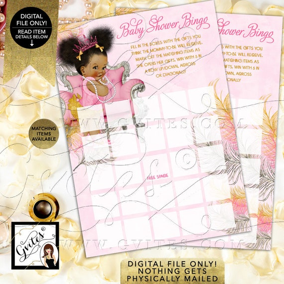 Bingo Cards Ethnic Baby Shower Games/ Pink Silver & Gold Princess Ballerina Afro Puffs Baby/ INSTANT DOWNLOAD {Pink/ Silver/ Gold Feathers}