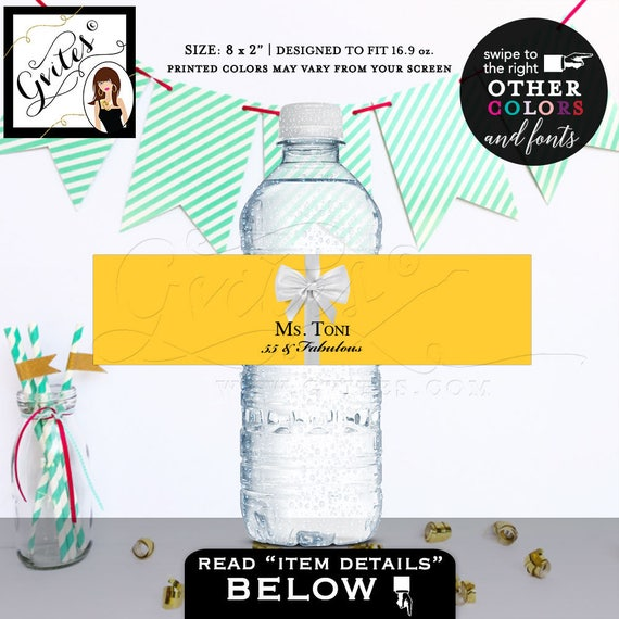 55 and Fabulous water bottle labels/ yellow and white/ party favor label/ stickers. digital file only/ realistic satin ribbon/ 5 Per Sheet