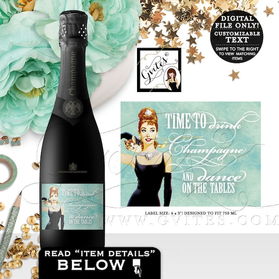 """Champagne Labels Audrey Hepburn, Stickers Favors, Gifts Breakfast at, Bridal Shower, Printable {4x3"""" 6 Per Sheet}"""