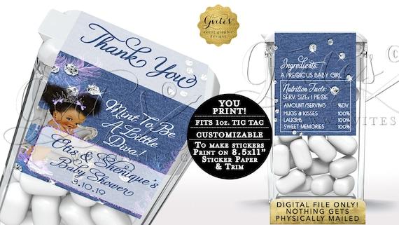 Tic Tac Labels Printable Denim Blue Lavender & Diamonds Baby Shower | Coordinating items sold separately