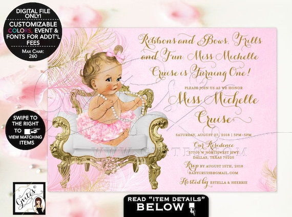Pink and Gold First Birthday Invitation | vintage printable girl ribbons bows frills and fun. {Feathers: Gold/ Pink/ White}
