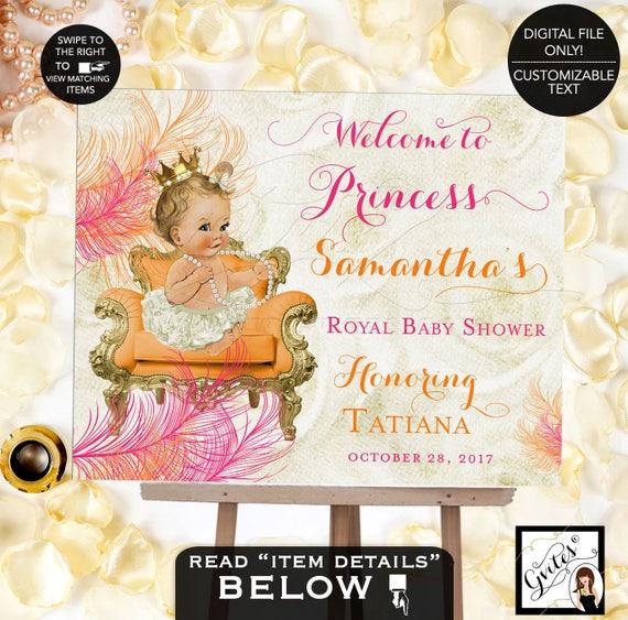 Orange and Pink Welcome Baby Sign/ Baby Shower Pink Gold Princess Baby Girl Vintage Signage/ DIY Printable/ DIGITAL FILE Only!