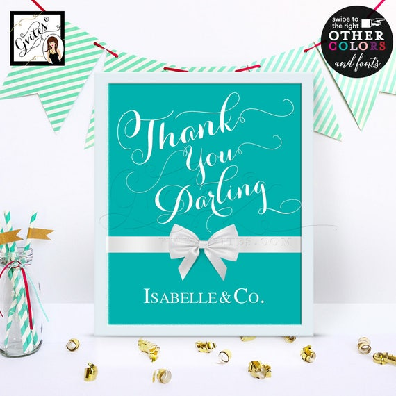 Thank you Darling Breakfast at themed Table Signs/ Blue thank you darling decorations/ Welcome to Birthday Bridal Shower Party Sign