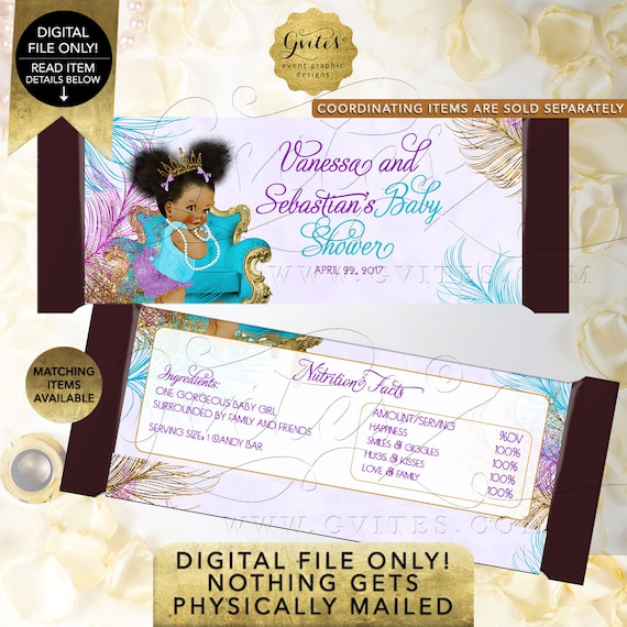 Candy Wrappers Baby Shower Purple Turquoise Gold Afro Puffs | Digital File JPG + PDF | TIACH-105 By Gvites