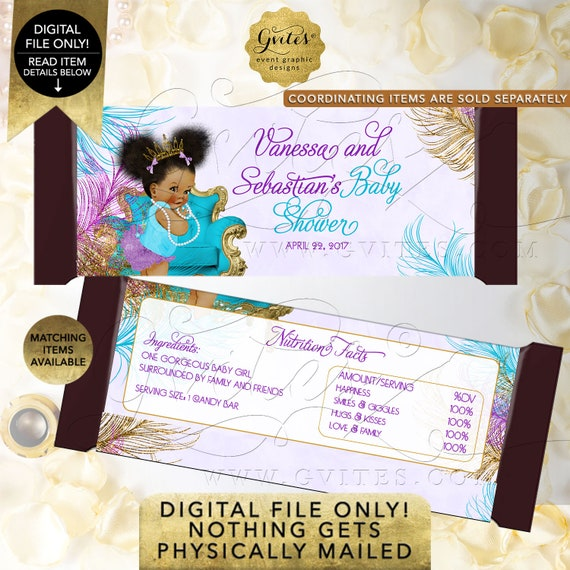 Candy Wrappers Baby Shower Purple Turquoise Gold Afro Puffs | Digital File Only! JPG + PDF Format | Design: TIACH-105 By Gvites