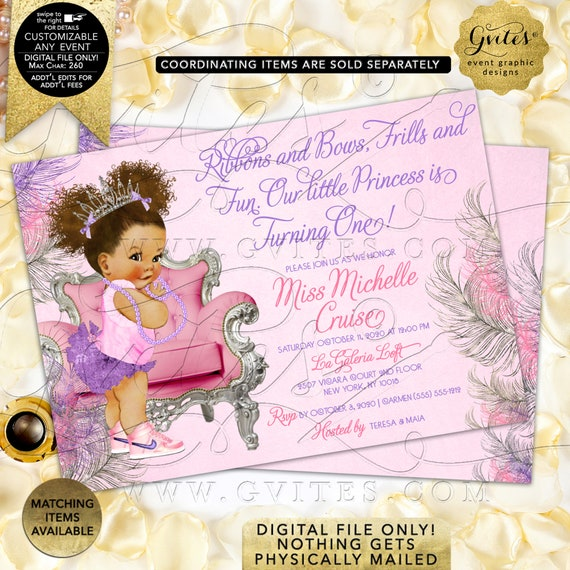 Afro Puffs Baby Theme / Pink Purple/Lavender & Silver First Birthday Party Printable Invites / Ribbons Bows African American Vintage Theme.