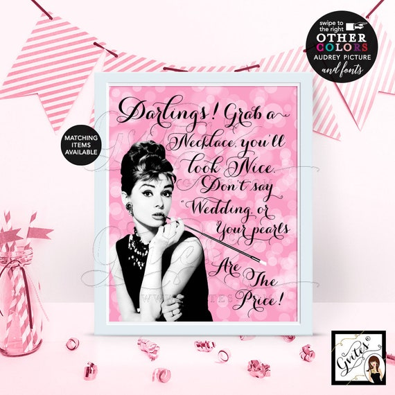 Pearl Necklace Game Bridal Shower | Pink Audrey Hepburn Party Digital File 4x6/5x7 or 8x10 {Bokeh Pink}