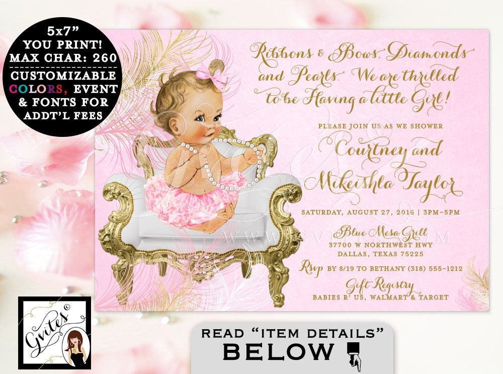 Pink and Gold BABY SHOWER girl invitation, ribbons bows diamonds and ...
