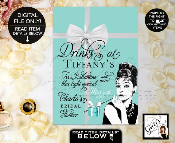 Drinks at Sign Personalized/ Audrey Hepburn Party Signs/ Thank You/ Breakfast at/ bridal shower decorations. {4x6 or 5x7}. Gvites