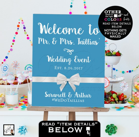 Ocean Blue Welcome Wedding Signs | Personalized Poster Entrance Decorations | JPG + PDF