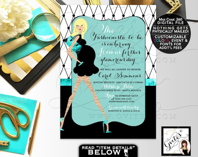 Fashionista Baby Shower Invitation, Parisian invites, Blue black and white, printable invites, customizable colors and mommy, 5x7 Gvites