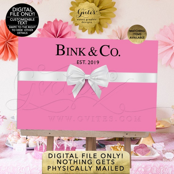 Pink & White Breakfast at Backdrops Dessert Table | Baby and Co/baby shower | Bride co/bridal shower poster signs. Printable/DIY/JPG/PDF
