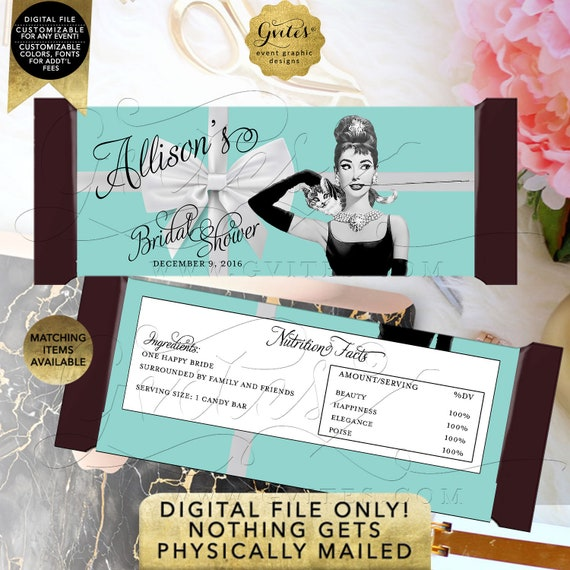 Bridal Shower Candy Bar Wrapper Personalized Audrey Hepburn Bridal Shower | Breakfast theme Party Favors | PDF + JPG Format