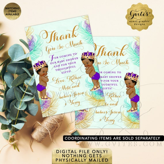 """Thank You Card From Twins Baby Boy Shower African American Little Prince 