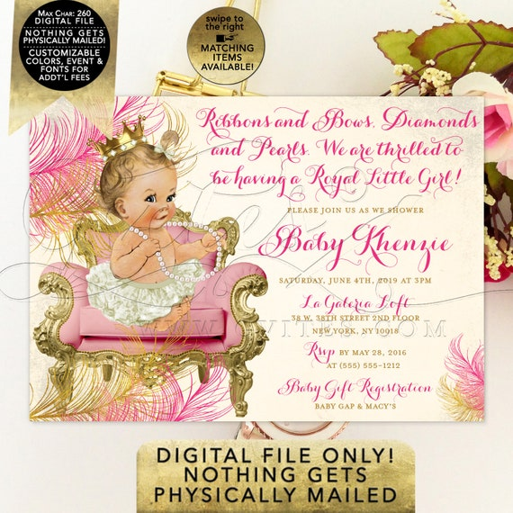 Pink and Gold Baby Shower Invitation/ Princess Ballerina White Tutu Gold Crown Pearl Necklace