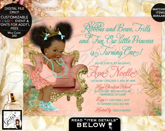 Coral and Mint Birthday, African American Baby Girl, Princess Gold Tiara, Ribbons Bows Frills Fun turning one, afro puffs, 7x5 Gvites