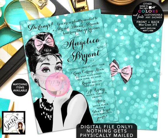 Audrey Hepburn Bridal Shower Invitations/ Bridal Shower Brunch/ Turquoise Blue Pink Bubble Gum/ Vintage Fun Invitation