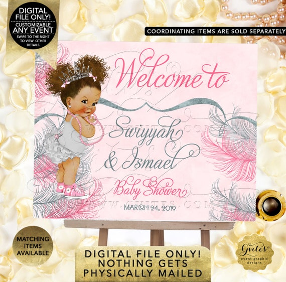 Pink & Silver Welcome Sign Princess Birthday Afro Theme Baby Puffs Vintage African American. Digital/Printable {TIACE-105}