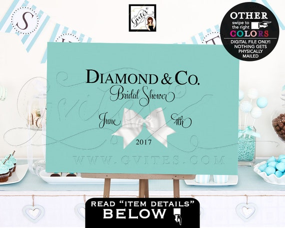 Breakfast at Backdrops/ Blue Bride and Co bridal shower welcome poster sign backdrops banners poster signs/ white bow decorations/ PRINTABLE