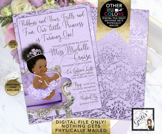 """Princess Lavender and Silver Baby Shower Invitations, Printable File, JPG + PDF Format. 5x7"""" Double Sided"""