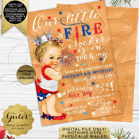 4th of July Baby Shower Invitation | Our Little Firecracker | Red White & Blue Vintage Baby Girl Silver Crown | JPG + PDF Format | by Gvites