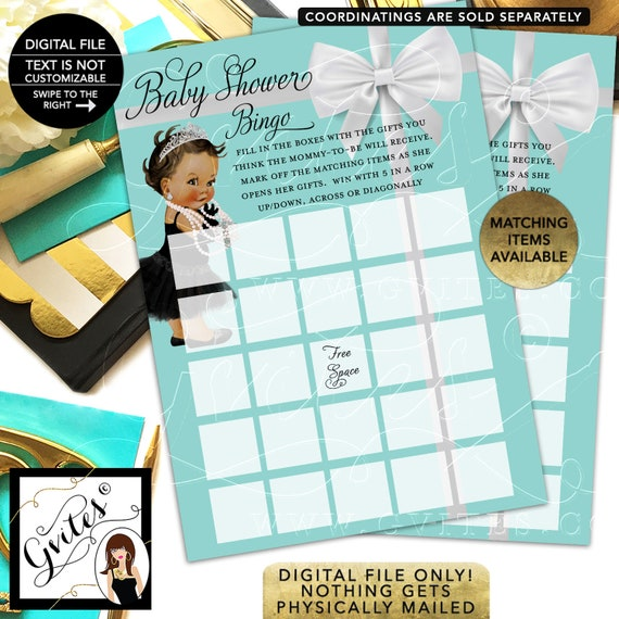 """Baby Shower Bingo Girl African American Printable, Baby and Company Party Games. 5x7""""/2 Per Sheet {INSTANT DOWNLOAD/Baby:Med/Brunette}"""