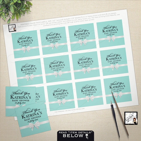 "Blue Thank you tags | Personalize favors/labels/Stickers. Bridal Shower/Baby Shower/Sweet 16 2x2"" 12/Per Sheet."