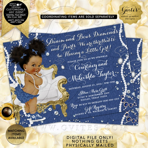 Denim Blue Jean & Diamonds Afro Puffs Baby Shower Printable Invitations/ African American Party Pearls Bling Glitz/ Glam. DIY/ JPG/ PDF.