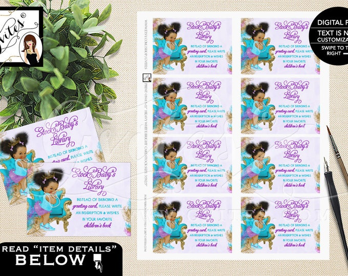 """Book for baby shower, turquoise purple baby shower baby insert, afro puffs african american princess request, 3.5x2.5"""" 8/Sheet.  #TIAAPC001"""