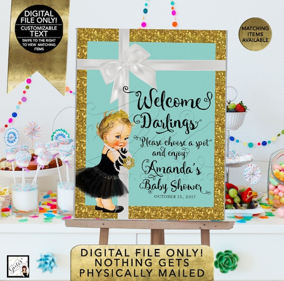 Welcome Sign Poster Baby Shower Printable/ Blue and Gold/ Breakfast at Audrey Hepburn/ Vintage and Black Tutu/ Diamonds Pearls/ DIY/ Digital