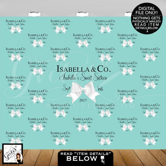 Sweet 16 Step and Repeat Backdrops/ breakfast at bridal shower/ turquoise blue white bow/ birthday and co backdrops/ Size: 10ft x 8ft