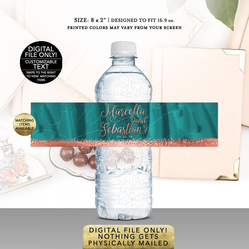 Wedding Water Bottle Labels Teal Copper Rose Gold Glitter Printable Bling Glitz And Glam Fashion Designer Digital Diy 8x2 5 Per Sheet