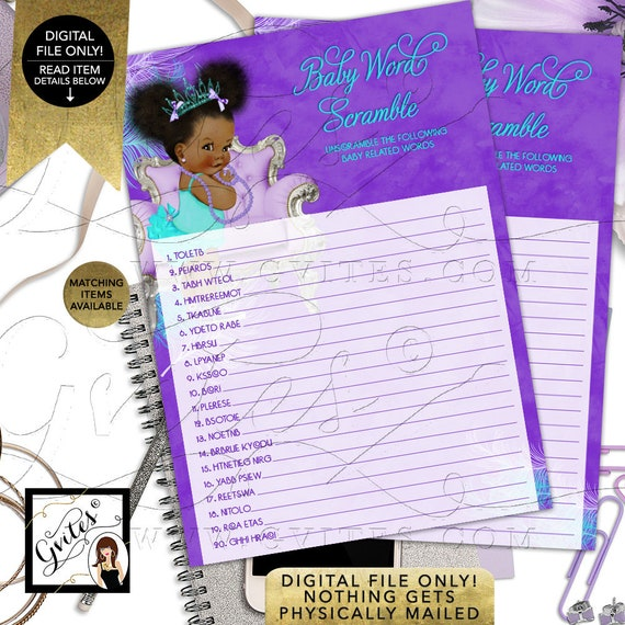 "Baby Word Scramble Baby Shower Game | Purple/ Lavender/ Aqua/ Turquois Tiara Princess Afro Puffs Girl | 7x5"" 2 Per Sheet  {Instant Download}"