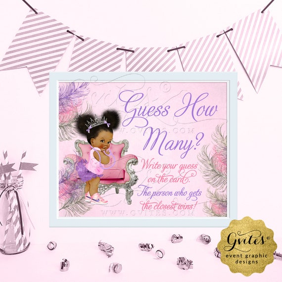 "Guess How Many? Baby Shower Game Sign / Pink Purple Silver Afro Puffs Vintage Party African American Princess. {6x4"", 7x5"" or 10x8""}"