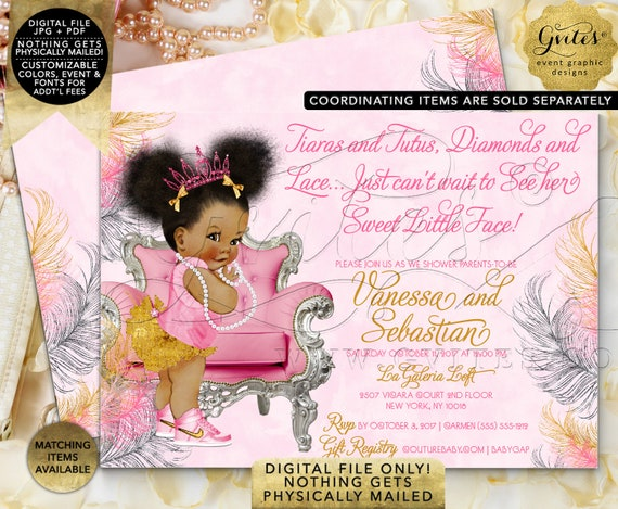 Pink Gold & Silver baby shower invitation/ Tiaras tutus diamonds pearls invites/ Afro Puffs 7x5 Double Sided. {Pink/ Silver/ Gold Feathers}