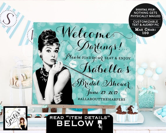 Darlings please find your seat and enjoy - Audrey Hepburn party | by Gvites