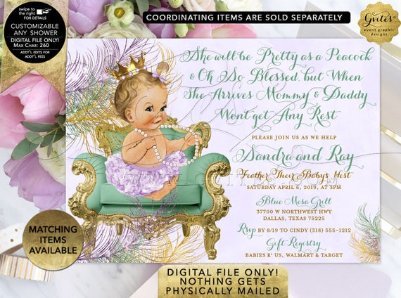 Peacock Mint Lavender Gold Baby Shower Invitation | Printable Digital JPG + PDF | By Gvites | Design: CWCHS-124