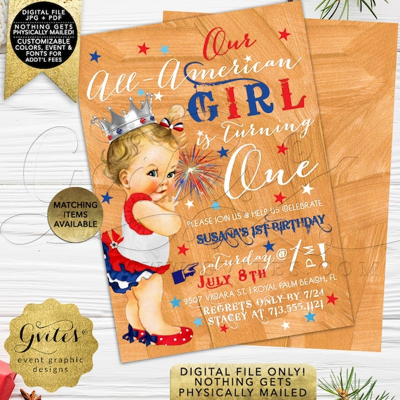 4th of July Girl Baby Birthday Invitation | PRINTABLE Birthday Cards | Princess Baby Shower | Red White & Blue
