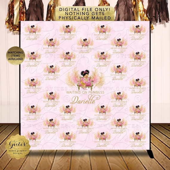 Step Repeat Baby Shower Pink and Gold | Digital File JPG + PDF {Design: TIACH-110} By Gvites