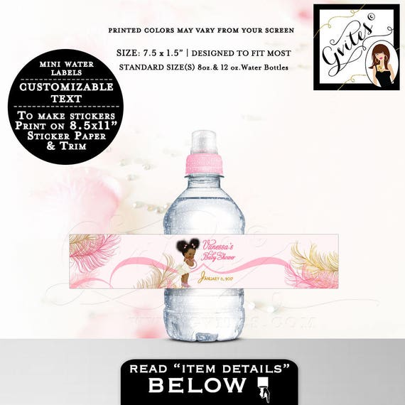 """MINI Pink and Gold Water labels/ Bottle Label baby shower pink and gold stickers Fits 8oz-12oz. Size: 7.5 x 1.5"""" 7 Per Sheet."""