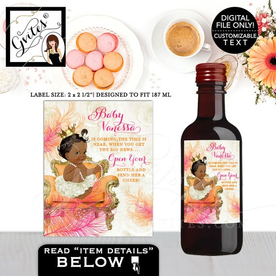 Baby Shower Mini Wine Labels Pink & Orange/ Ethnic baby invitations/ Cute vintage baby Coral Rose Party