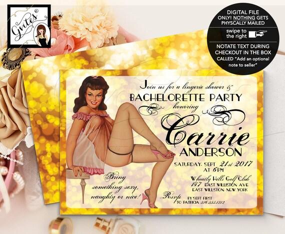 Gold Vintage Bridal Shower Invitation, Pin Up Lingerie Shower, Girl invitations, printable 1950s retro invites, 5x7.