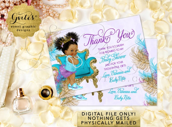 "Baby Shower Thank You Card / Purple and Gold / African American Baby / {5x3.5"" 4 Per/Sheet} {TIACH-105}"