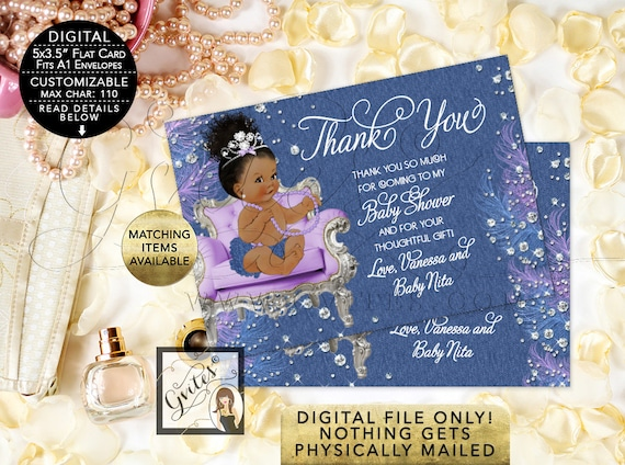 """Thank You Baby Shower Cards - Denim diamonds and soft little curls, Afro Bun Curly Vintage African American Baby Girl. {5x3.5"""" 4 Per/Sheet}"""