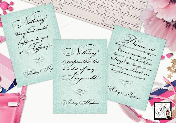 Audrey Hepburn Quotes Customizable | Wall art/home decor/Bridal Shower/ Inspirational Sayings | Printable JPG + PDF