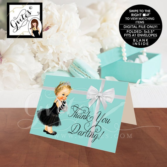 """Baby Shower Baby and Co Thank You Cards, Audrey Hepburn Party Themed Printable, DIGITAL FILE ONLY!  5x3.5"""" 2 Per/Sheet"""