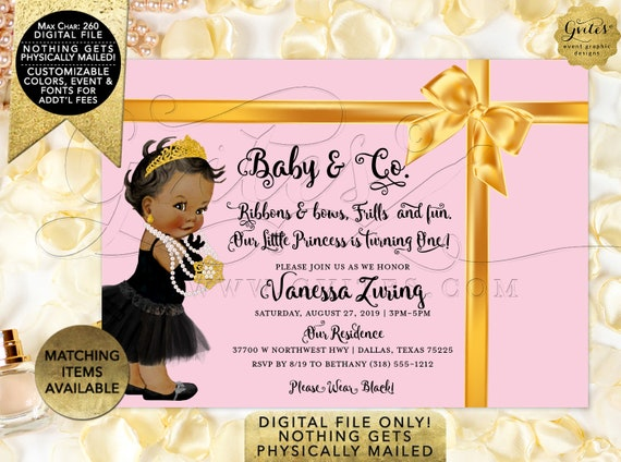 """Baby and Co Printable Invites - Pink and Gold Diamonds and Pearls African American Audrey Hepburn DIGITAL FILE! 7x5"""" Gvites."""