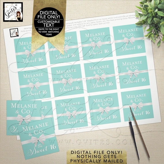 """Sweet 16 Labels, Thank You Stickers, Tags, Gifts, Blue White Teen Party Printable, DIY Digital File Only! Gvites 2x2"""" 12 Per Sheet"""
